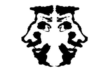 Rorschach Tintenklecks-Testillustration, zufällige symmetrische abstrakte Tintenflecken.