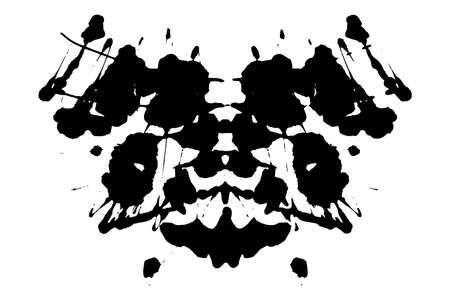 Rorschach inkblot test illustration, random symmetrical abstract ink stains. Çizim