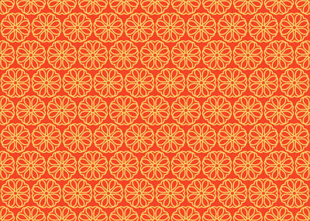Japanese ornament with sakura flowers vector seamless pattern. Premium vintage background. Motif for packaging, cosmetic, wine, chocolate, fabric design. Ornament Gold and red color. Standard-Bild - 124987320