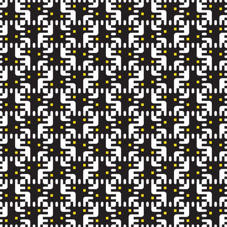 Geometric seamless pattern black and white of squares. Vector. Regular structure for fabric design, scrapbooking patterns, cosmetics, chocolate packaging design. Banco de Imagens - 124987322
