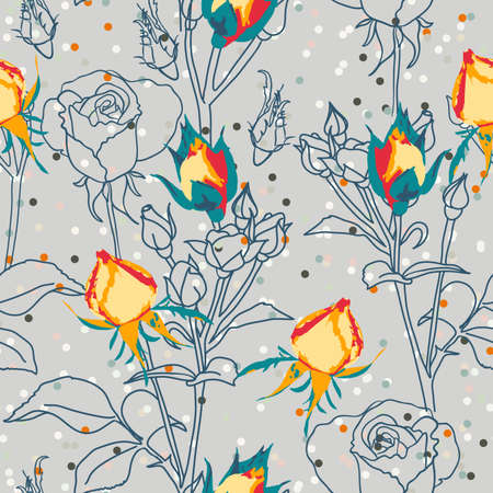 Victorian Roses on the Pastel Blue. Dusty Colors Ilustração