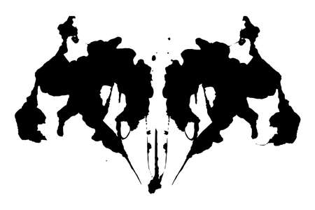 Rorschach inkblot test illustration, symmetrical abstract ink stains Vector Illustratie