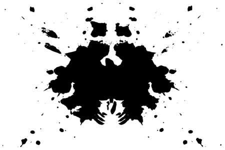 Rorschach-Tintenklecks-Testillustration, symmetrische abstrakte Tintenflecken
