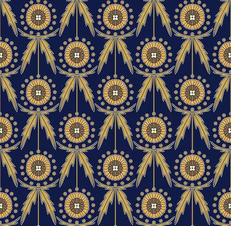 Scottish Thistle Onopordum acanthium. Seamless decorative pattern 矢量图像
