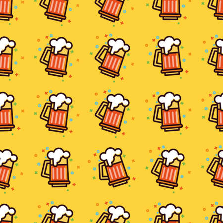 Seamless pattern with foam beer in large mugs Fashionable Ornamnet for bar pub octoberfest festival Texture for scrapbooking, wrapping paper textile web page textile wallpaper surface design fashion..