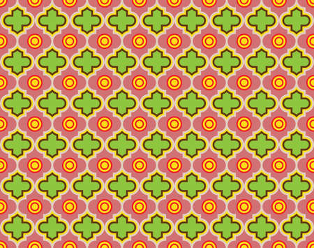 Moroccan Quatrefoil Seamless Pattern Mosaic Ogee Vector Illustration