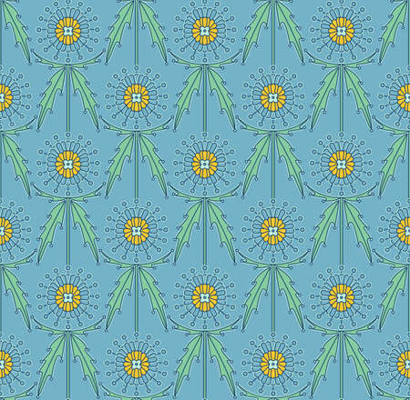 Scottish Thistle Onopordum acanthium. Seamless decorative pattern Vektorové ilustrace