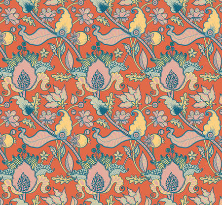 Indian National paisley ornament for cotton, linen fabrics. Tribal flowers seamless pattern. Bohemian ornament for taps. Texture for wrapping, skins smartphones, textile wallpapers, surface design 스톡 콘텐츠 - 124130095