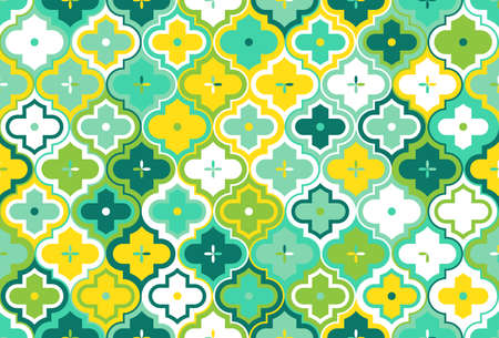 Moroccan Quatrefoil Seamless Pattern. Mosaic Motif Ogee For Ethnic Background. Suitable For Decorating Baby Shower Card, Wedding, Surface Design, Fabrics, Textiles Wrapping Paper 版權商用圖片 - 123395531