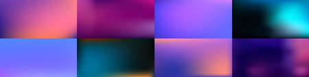 Set of Smooth abstract colorful mesh backgrounds Soft fuchsia, turquoise gradient. Modern blazing backdrop for poster, banner, mobile app screen, invitations. Vector design. Ilustrace