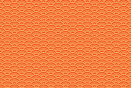 Oriental ancient seigaiha seamless pattern. Vintage background with waves of red and gold color. Symbol of good luck and prosperity. Suitable for origami and wishes for happiness. Vector  イラスト・ベクター素材