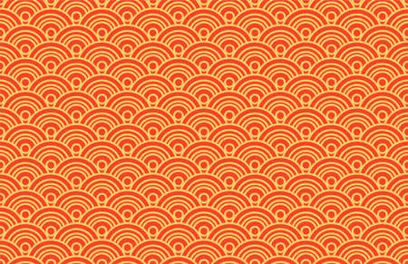 Oriental ancient seigaiha seamless pattern. Vintage background with waves of red and gold color. Symbol of good luck and prosperity. Suitable for origami and wishes for happiness. Vector Иллюстрация