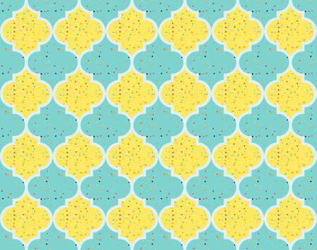 Moroccan Quatrefoil Seamless Pattern. Mosaic Motif Ogee For Ethnic Background. Suitable For Decorating Baby Shower Card, Wedding, Surface Design, Fabrics, Textiles Wrapping Paper