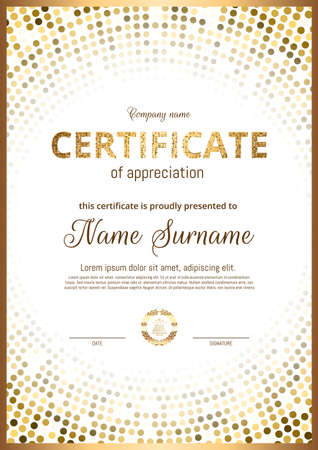 Certificado, Diploma de orientación vertical. Impresión en oro, marco, diseño premium de lujo. Plantilla elegante para recompensar los logros en deportes, negocios, graduación. Vector.
