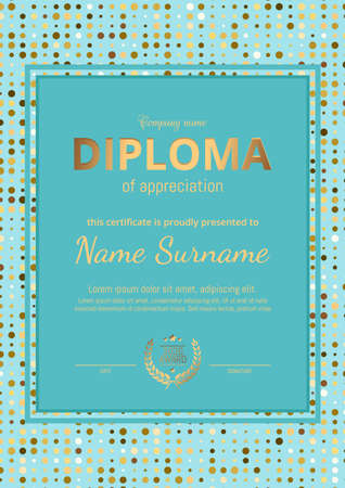 Beauty diploma, certificate of blue color. Vertical orientation.