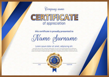 Certificate, Diploma of landscape orientation. luxury premium design.