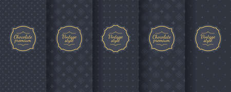 Set of dark vintage seamless backgrounds for luxury packaging design. Geometric pattern in black. Suitable for premium boxes of cosmetics, wine, jewelry. Elegant vector ornament set. Fabric print. Banque d'images - 138358892