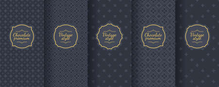 Set of dark vintage seamless backgrounds for luxury packaging design. Geometric pattern in black. Suitable for premium boxes of cosmetics, wine, jewelry. Elegant vector ornament set. Fabric print. Banque d'images - 138358890