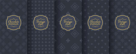 Set of dark vintage seamless backgrounds for luxury packaging design. Geometric pattern in black. Suitable for premium boxes of cosmetics, wine, jewelry. Elegant vector ornament set. Fabric print. Banque d'images - 138358903