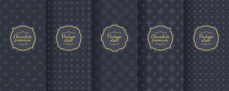 Set of dark vintage seamless backgrounds for luxury packaging design. Banque d'images - 138358904