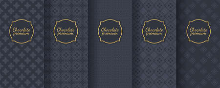 Set of dark vintage seamless backgrounds for luxury packaging design. Banque d'images - 138358899