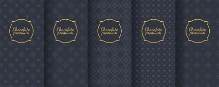Set of dark vintage seamless backgrounds for luxury packaging design. Banque d'images - 138358902