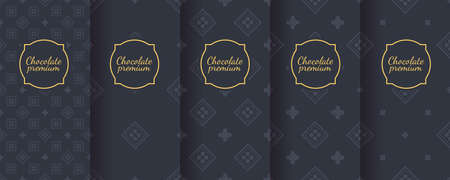 Set of dark vintage seamless backgrounds for luxury packaging design. Banque d'images - 138358900