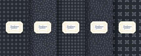 Set of dark vintage seamless backgrounds for luxury packaging design. Vettoriali