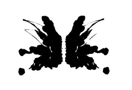Rorschach inkblot test illustration, random symmetrical abstract ink stains.