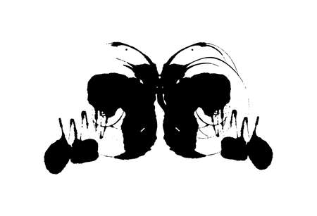 Rorschach inkblot test illustration, random symmetrical abstract ink stains. Psycho diagnostic for inkblot, Rorschach projection psychological techniques or a simple test for silhouette spot Vector Vectores