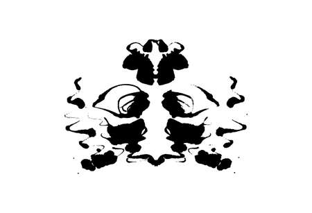 Rorschach inkblot test illustration, random symmetrical abstract ink stains. Psycho diagnostic for inkblot, Rorschach projection psychological techniques or a simple test for silhouette spot Vector Ilustracje wektorowe