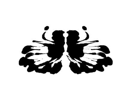 Rorschach inkblot test illustration, random symmetrical abstract ink stains. Psycho diagnostic for inkblot, Rorschach projection psychological techniques or a simple test for silhouette spot Vector Illustration