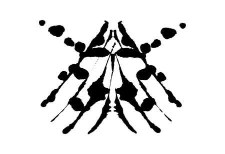 Rorschach inkblot test illustration, random symmetrical abstract ink stains. Illustration