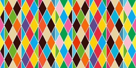 Harlequin vintage or argyle seamless pattern. Vector texture of rhombuses Vecteurs