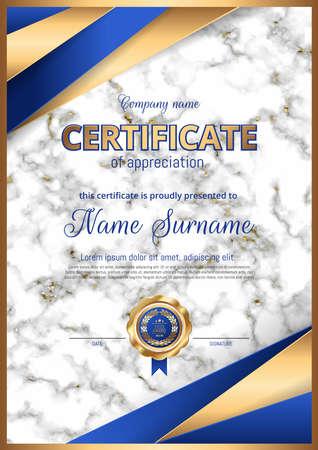 证书,文凭奢侈品优质设计。大理石背景,金色印刷,框架。