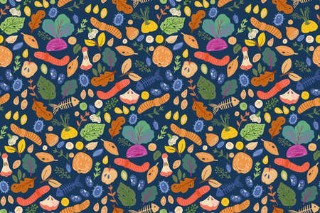 Leftover food, waste seamless pattern. Textile design zero waste