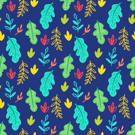 Woodland and vegetation seamless pattern. Vector natural fabric print.