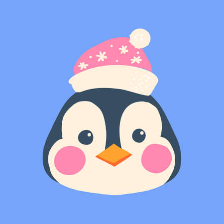 The face of a penguin in a Christmas hat. Cute animal, bird.