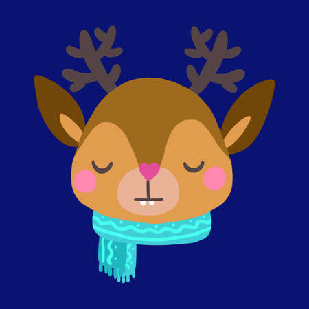 Face of a Christmas deer with antlers with a scarf.