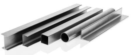 flange: Samples of steel beams and pipes on white background. 3D rendering