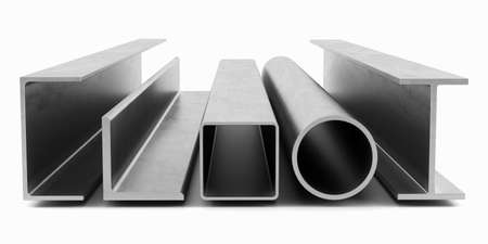 steel industry: Samples of steel beams and pipes on white background. 3D rendering
