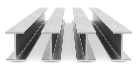 flange: Steel I-beam. Flange beam on white background. 3D rendering Stock Photo