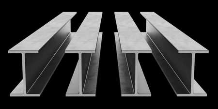 flange: Steel I-beam. Flange beam isolated on black background. 3D rendering