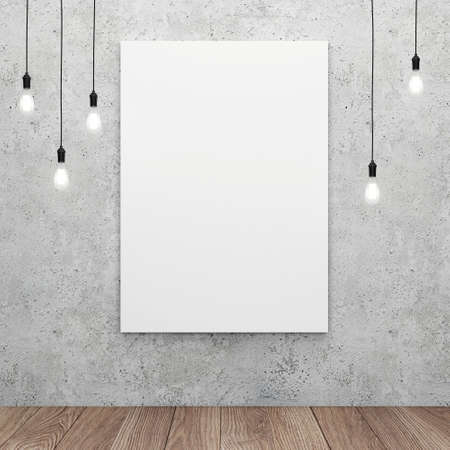 advertising design: Blank white canvas with glowing light bulbs. 3D rendering
