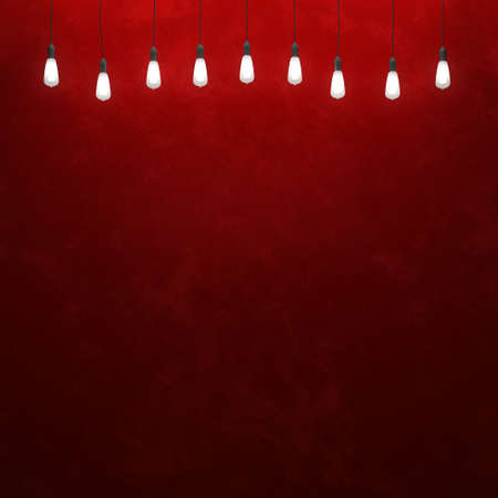hang up: Glowing retro light bulbs on the red background. 3D illustration