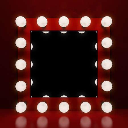 Retro Make-up-Spiegel auf dem roten Hintergrund. 3D-Darstellung Standard-Bild - 56938349