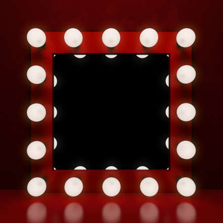 vanity table: Retro makeup mirror on the red background. 3D illustration