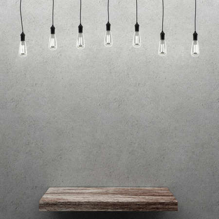 wooden shelf: Concrete wall with wooden shelf and retro light bulbs. 3D rendering Stock Photo