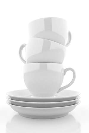 saucers: White coffee cups with saucers. 3D rendering