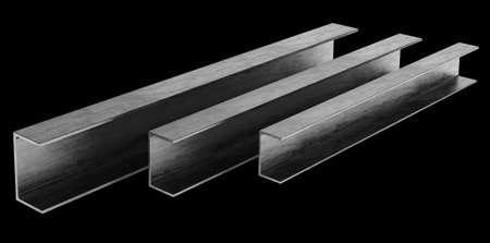 joist: steel channel beam isolated on black background